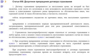 Статья 958 ГК РФ